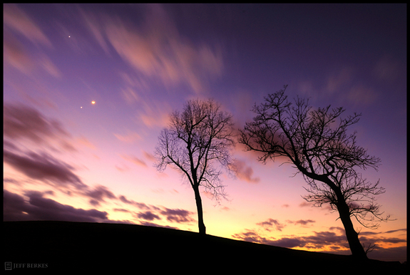 Jupiter, Venus and the Moon over West Chester, PA
