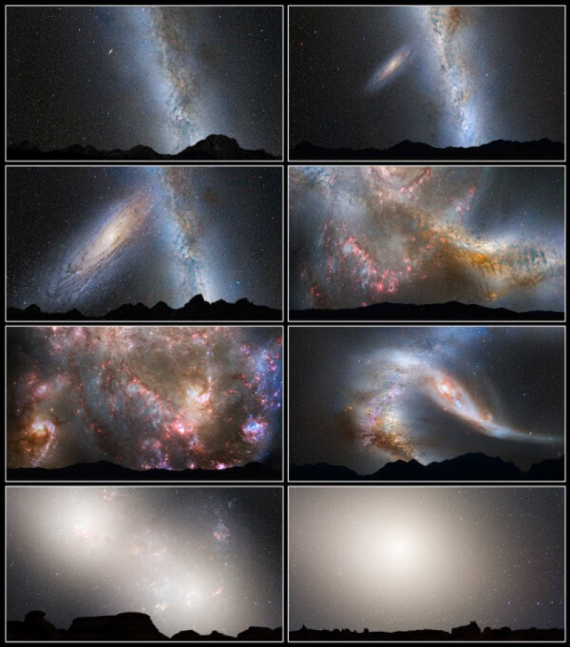 This series of photo illustrations shows the predicted merger between our Milky Way galaxy and the neighboring Andromeda galaxy. Via NASA