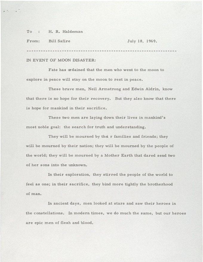 The memo prepared for President Richard Nixon in the event that the Apollo 11 Moon mission had gone terribly wrong