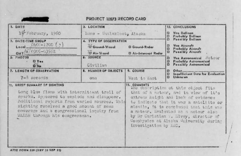 There are hundreds of UFO reports for each year, mostly in the form of cryptic reports like this one. Conspiracy-theory heaven! (Picture: Project Blue BooK)