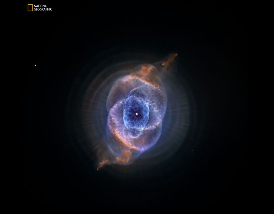 Cat's Eye Nebula, reveals at least 11 previously unknown concentric rings and knots of glowing gas blown out into space by a dying sunlike star