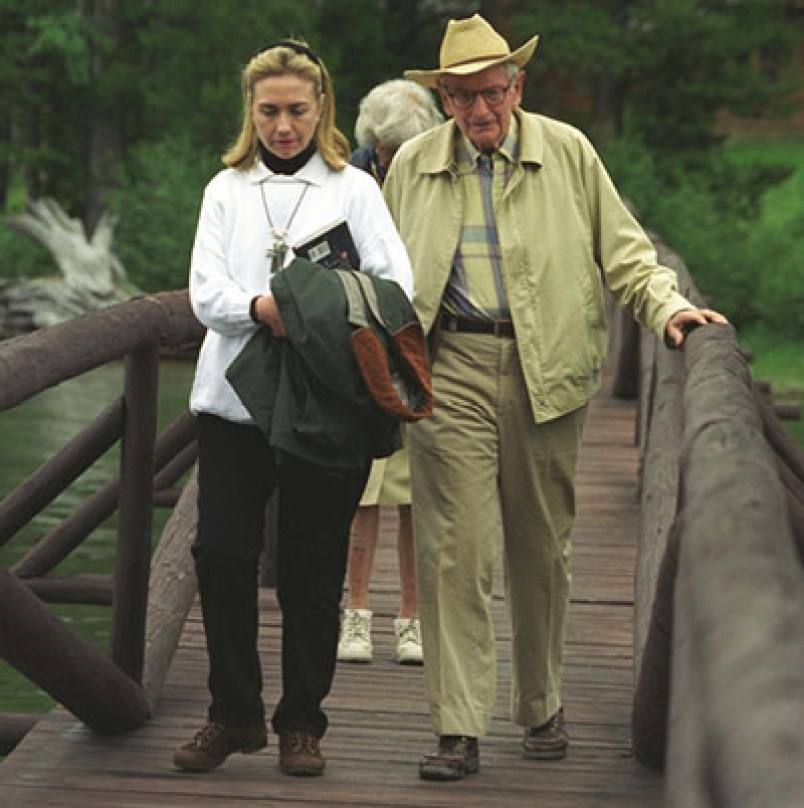 Hillary Clinton with Laurance Rockefeller at his Wyoming ranch in 1995 Grant Cameron/Stephen Bassett