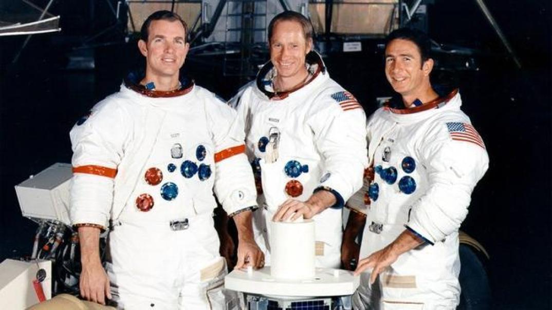 All aboard On board were Commander David Scott, Command Module Pilot Alfred Worden and Lunar Module Pilot James Irwin. (Copyright: Nasa)