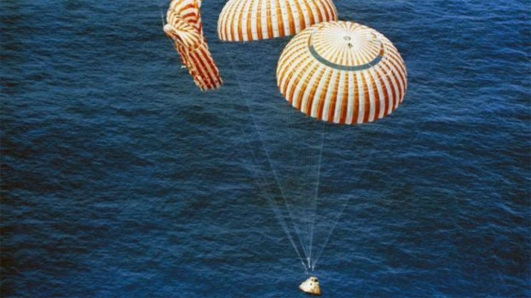 Splash down Although only two of the three parachutes on the return capsule deployed, the crew landed safey into the Pacific Ocean on 7 August 1971, 13 days after launch. (Copyright: Nasa)