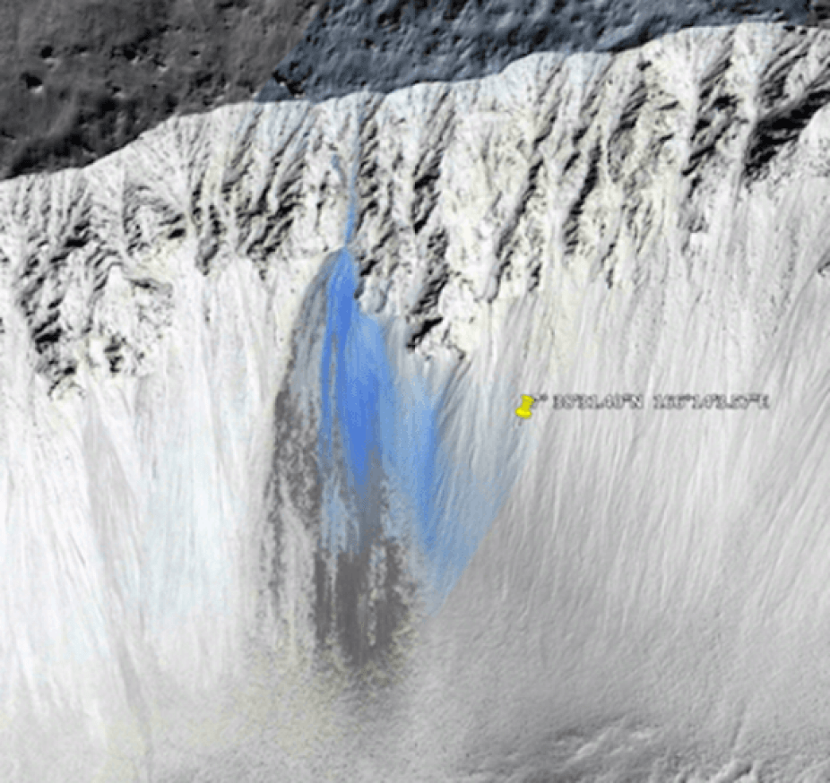 A New Waterfall Discovered on Mars