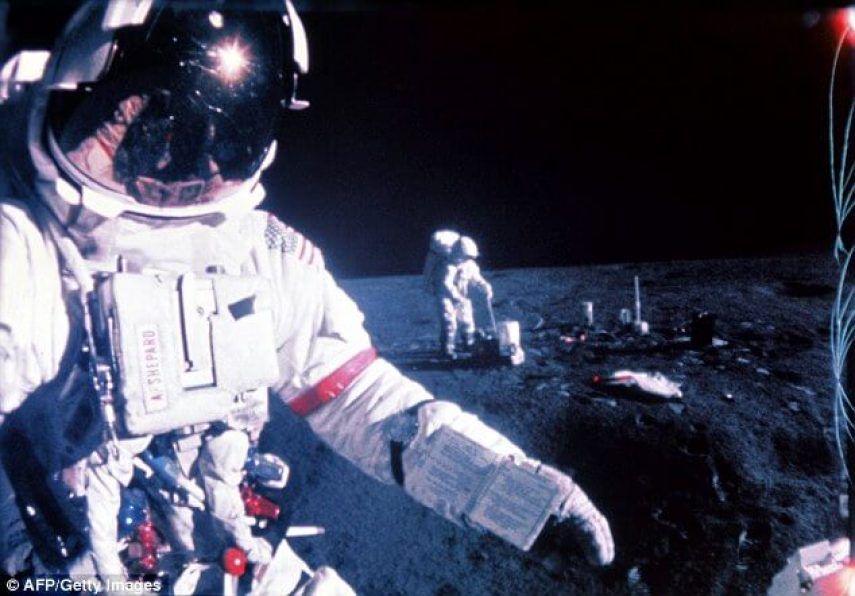 This image was taken during the Apollo 14 mission in February 1971 of US astronauts Alan Shepard (left) and Edgar Mitchell (right). The Apollo XIV mission, the third mission to land on the moon, was launched on January 31, 1971 and landed on the moon on February 5, 1971
