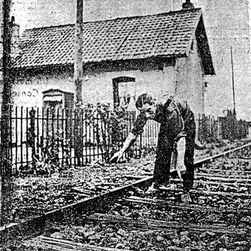 Marius Dewilde Showing Off The Train Tracks Where He Encountered The Alien In A Newspaper