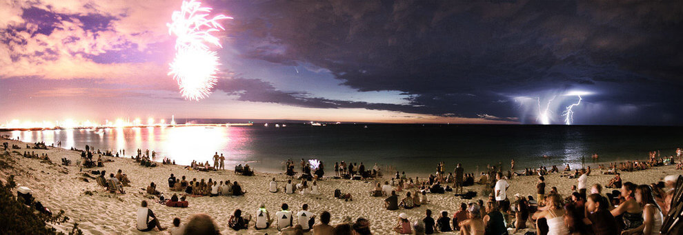 Basically Australia's skies rock any day of the week. On Australia Day we take it up a gear! Here's fireworks, lightning AND a comet over Perth, WA!!!
