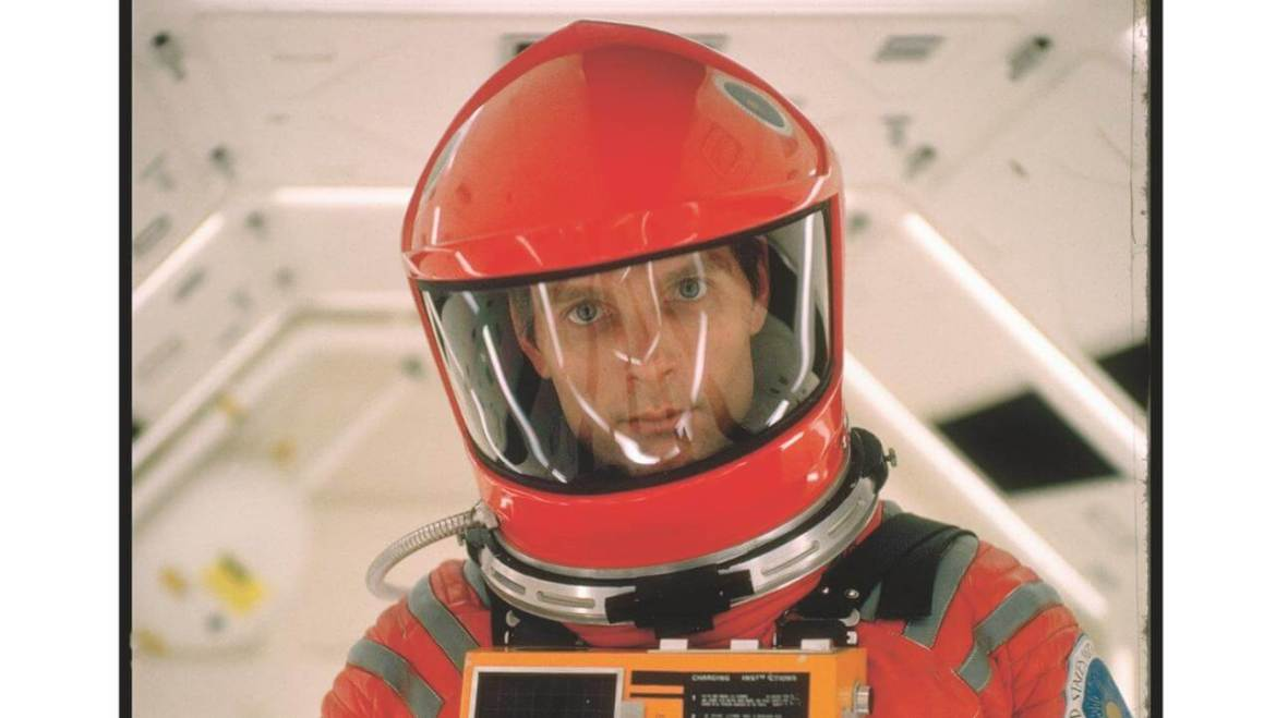 Keir Dullea in a space suit in 2001: A Space Odyssey