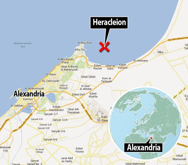 The ancient port city lies 20 miles northeast of Alexandria in the Mediterranean