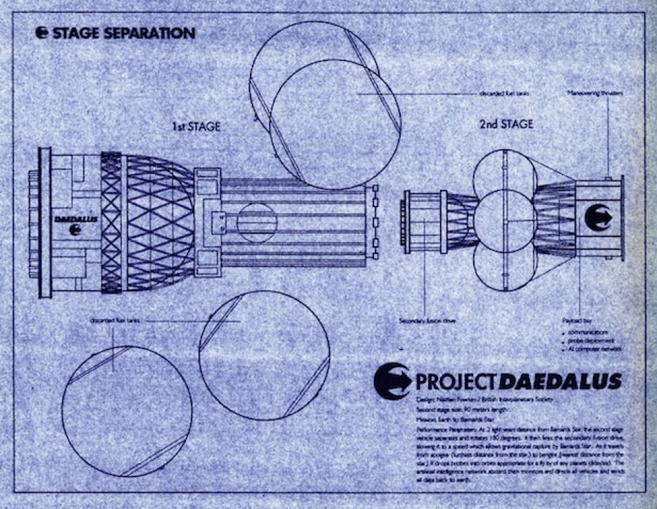 An artist's rendering of a blueprint from Project Daedalus (Image courtesy of Nathan Fowkes)