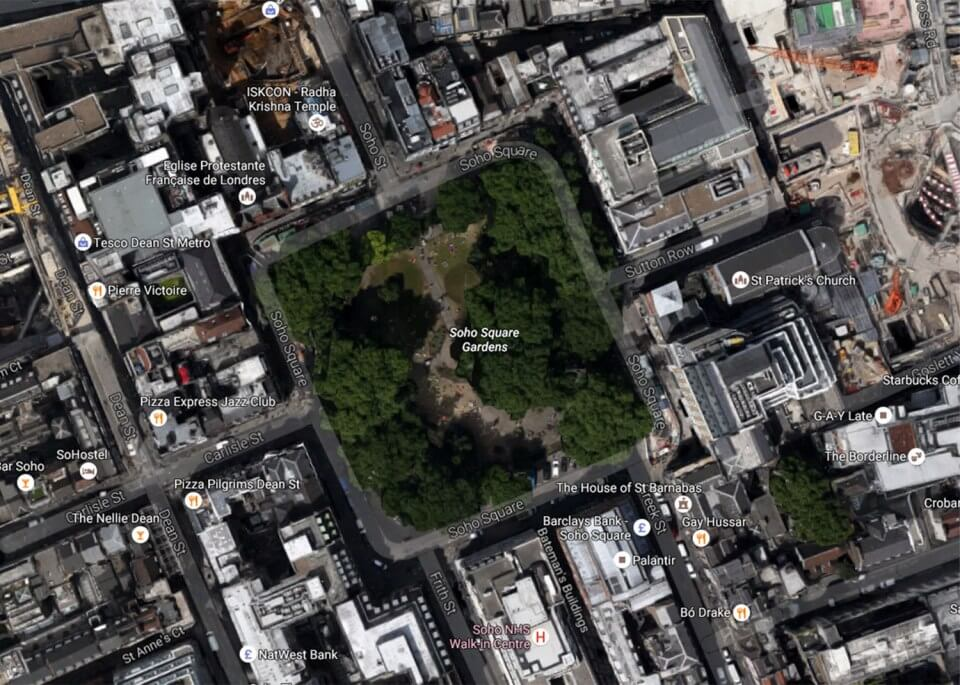 Is there an alien base in Soho Square in London? No.
