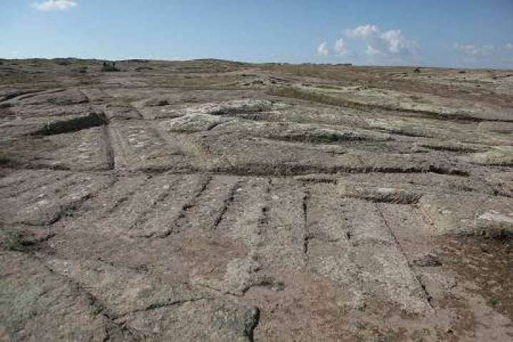 Petrified impressions in stone, Dr. Alexander Koltypin said were likely left by cargo placed there by the same civilization that drove over the area in vehicles that left ruts still visible today. (Courtesy of Dr. Alexander Koltypin)