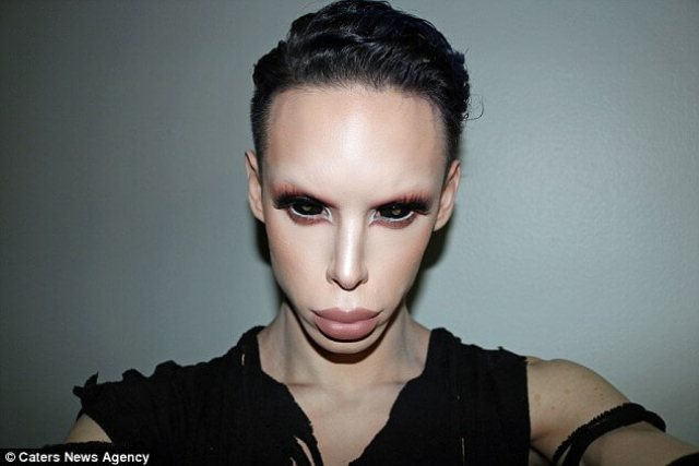 Make-up artist Vinny Ohh, 22, from Los Angeles in California, has plans costing over $160,000 ((£130,000) to become a genderless alien. He has already spent $50,000 (£40,000) on plastic surgery to become an alien