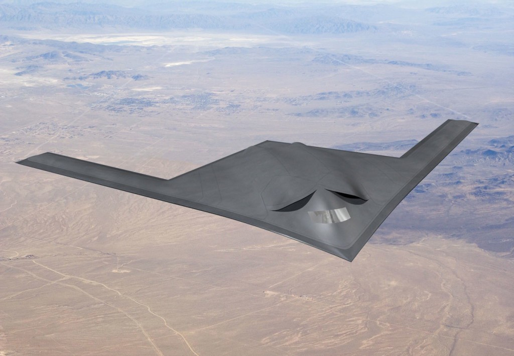 Concept art released by the Pentagon showing Northrop Grumman's B-21 stealth bomber design