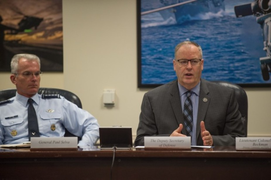 Robert Work sits beside Air Force General Paul Selva.