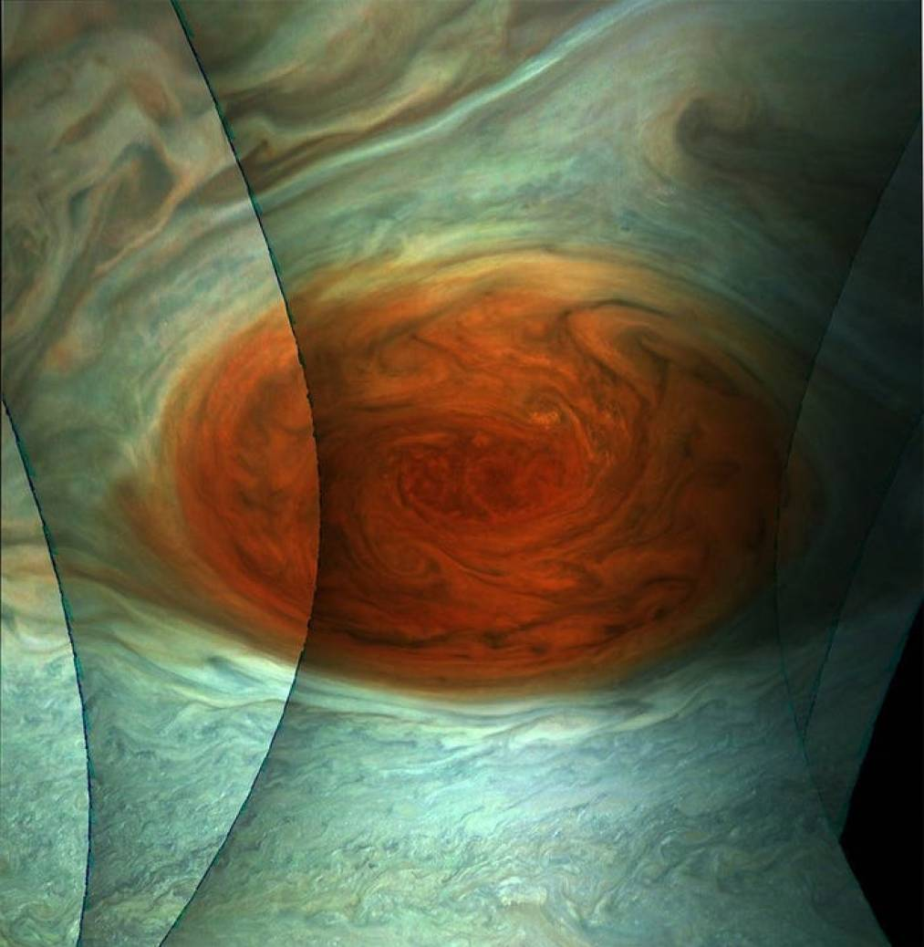 planet jupiter grat red spot stitching juno perijove 12 april 2018 nasa jpl msss swri gerald eichstaedt sean doran