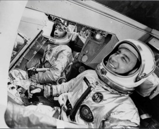 John Young in the spacecraft simulator