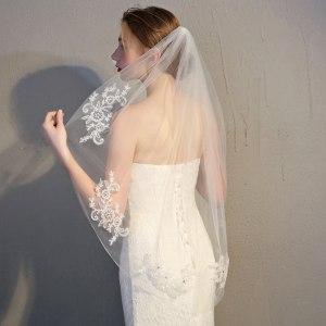 Frcolor Voile de mariée en dentelle mariage mariage voile avec un peigne