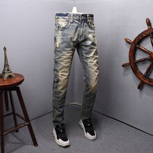 Fashion Streetwear Men Jeans Retro Yellow Wash Destroyed Ripped Jeans Men Slim Fit Italian Style Vintage Designer Jeans Homme
