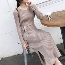 Korean Fashion Sweater Dress Women Knitted Sweaters Dresses Elegant Women High Waist Sweater Dress Plus Size Vestidos De Fiesta