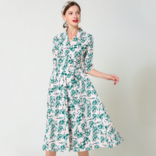 Korean Fashion Women Dress Elegant Women Print Dresses Woman Floral Dress Plus Size Woman High Waist V Neck Belt Dresses OL