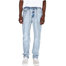 Men Skinny Jeans Biker Destroyed Frayed Fit Denim Ripped Denim Pants Side Stripe Pencil Pants Hip Hop Streetwear