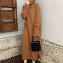 Turtleneck Knitted Sweater Dress Women Korean Causal Autumn Winter Noodles Elastic Long Sleeve Loose Pullover Long Dress Brown