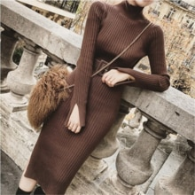 Bodycon Sweater Dress Women Winter Knitted Sweaters Long Dresses Korean Woman Split Pleated Dresses Belt Winter OL Dress Vestido