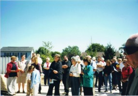 friends, families, volunteers and a few neighbors gather to help us dedicate the house - Sept 16th.