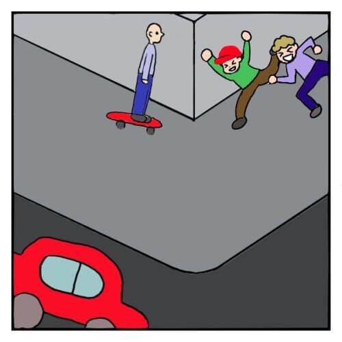 曲がり角で、正面衝突をしそうなスケートボードに乗った男性と、全速力する小学生