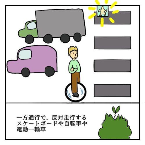 一方通行の道で逆走している電動一輪車ナインボットに乗った男性の絵