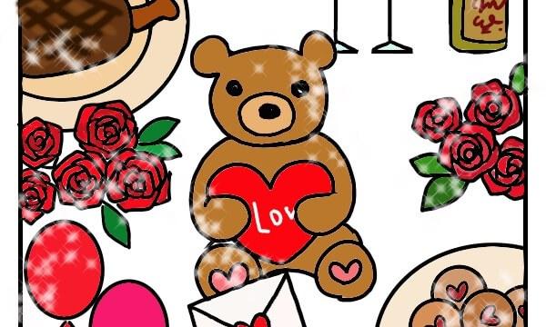 テディベアがハートを抱いてる、アメリカのバレンタインディナーの絵