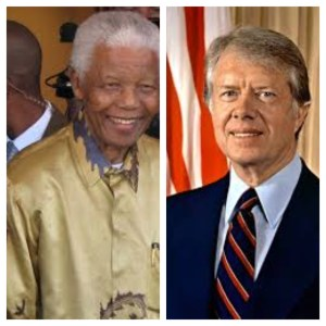 The late Nelson Mandela and former President Jimmy Carter both make appearances in Jonasson's book