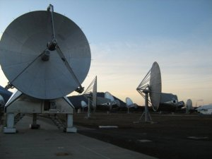 Hat Creek, CA, a decommissioned radio telescope amidst the new Allen Telescope Array telescopes.