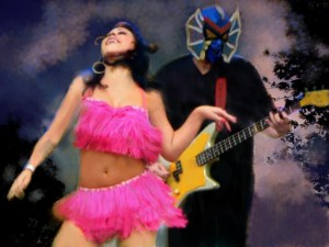 Angie Pontani and Pete of Los Straitjackets