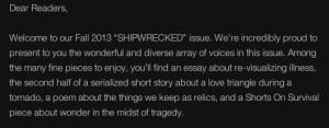 """...and a Shorts On Survival piece about wonder in the midst of tragedy."""