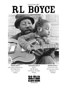 Poster for RL Boyce's NYC performances, 2012