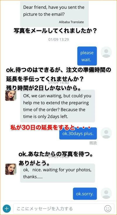 アリエクスプレスの注文時のセラーへの承認待ち延長の依頼メール画面