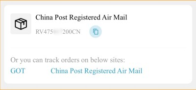 China Post Registered Air Mailの追跡番号