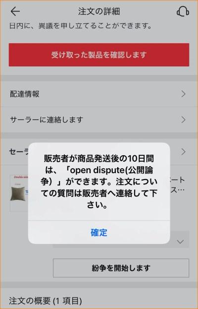 発送から10日以内は紛争が開始できない表示画面