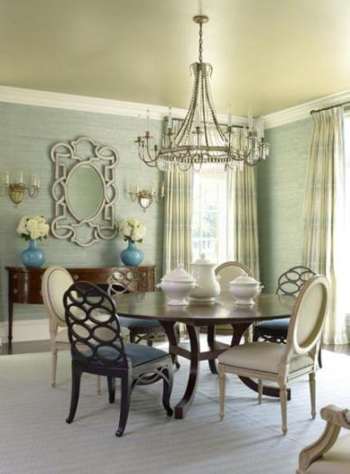 Neoclassical Aqua & Cream Dining Room by Suzanne Kasler