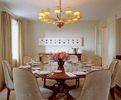 Transitional Dining Room by Mariette Himes Gomez.