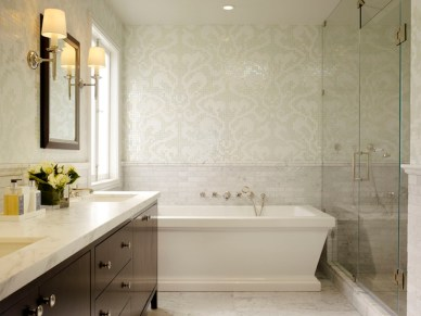 Master Bath with Undermounted Sinks, White Ivory Cream Gray Mosaic Tiles, Stacy Nance Interiors