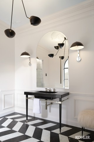 Contemporary Bath with Polished Chrome Fixtures by Kohler