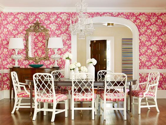 Dining Room with Pink Floral Wallpaper
