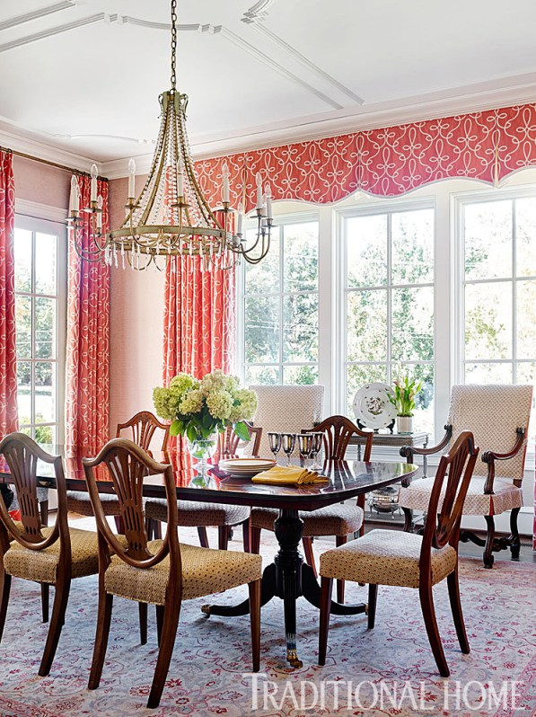Dining Room with Salmon Draperies, Paper-backed Fabric Wallcovering by Alcott Interiors