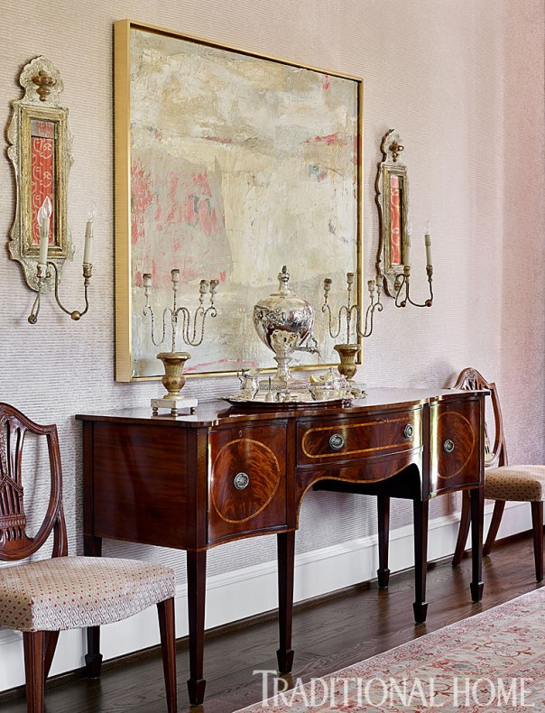 Dining Room with Upholstered Walls, Art, Sconces, Alcott Interiors