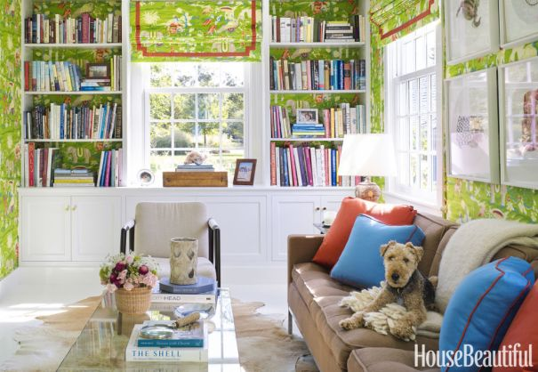 Colorful & Bright Library with Hidden Doors Leading to Bathroom