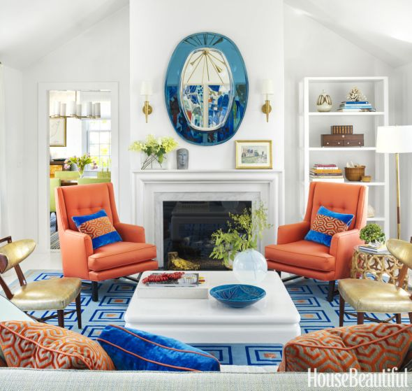 Living Room with Fireplace anchored by Colorful Furnishings, Gary McBournie
